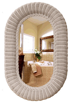 Oval Rattan Wicker Wall Mirror - Eclectic - Wall Mirrors - by Wicker Home & Patio Furniture