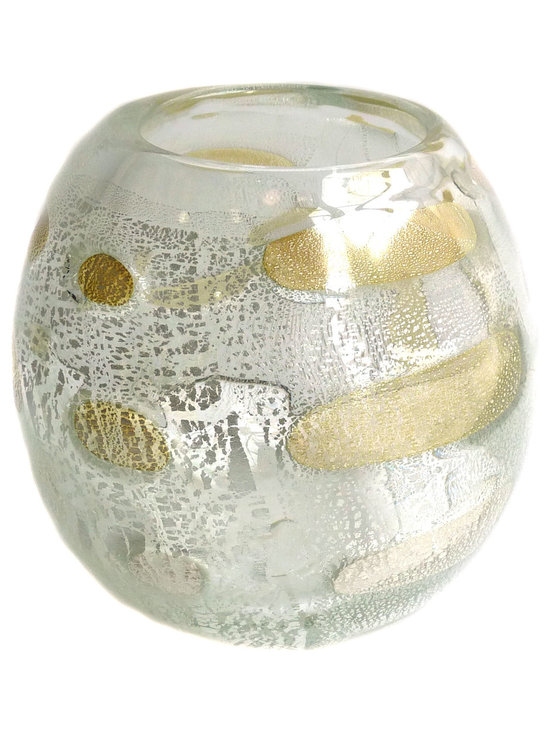 Caleb Siemon - Caleb Siemon metal series chaos wrap vase - This piece uses precious metals and wraps of clear crystal to create vessels that are reminiscent of modern era glass with a galactic edge. Silver pieces will patina. Hand blown and shaped in lead free crystal.
