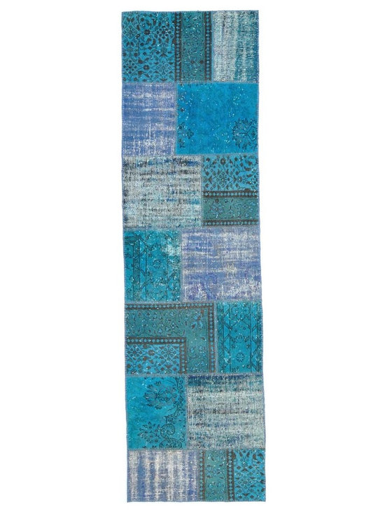 Over-dyed Anatolian Patchwork Runner Rug - This piece is an Over-dyed Anatolian Patchwork Runner Rug created by first neutralizing the colors and then over-dying with blue to achieve a contemporary effect and bring old hand-made rugs back to life. The result is almost like an abstract painting.