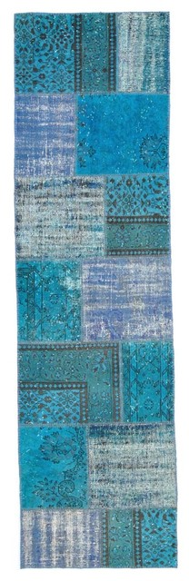 Over-dyed Anatolian Patchwork Runner Rug rugs