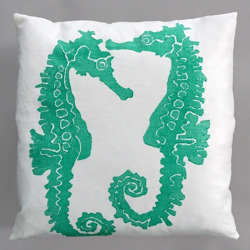 Seahorse Turquoise Pillow on White Linen - Modern - Decorative Pillows - by AllModern