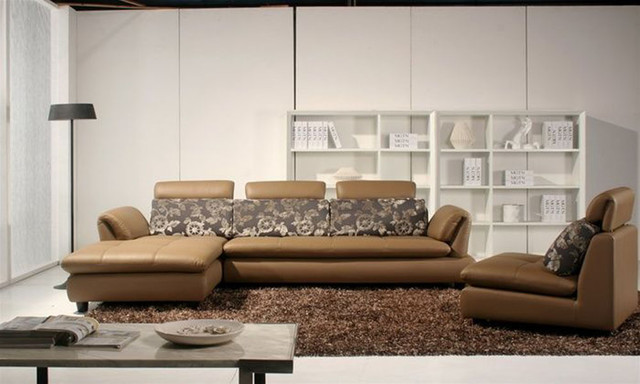 Luxury Leather Curved Corner Sofa with Pillows - Contemporary - Sectional Sofas - little rock ...