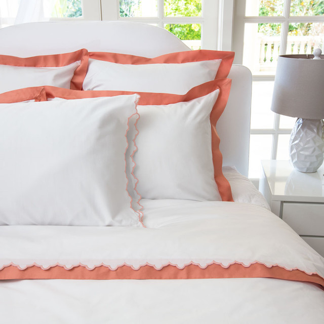 Linden Coral Border Duvet Cover, King contemporary-duvet-covers