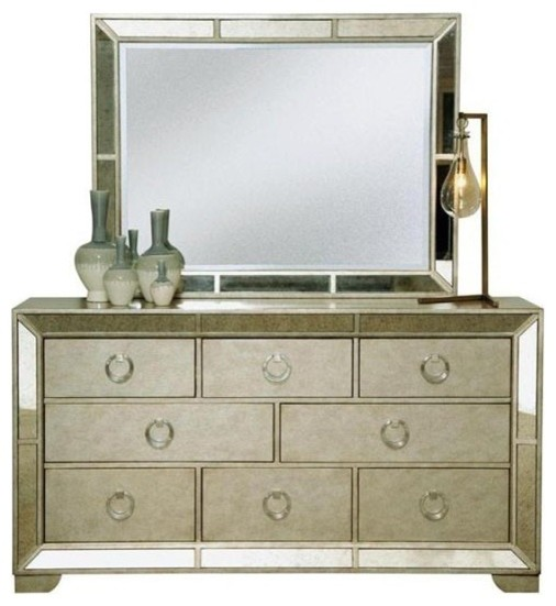 PULASKI Furniture Farrah Silver Dresser And Mirror 395100 395110