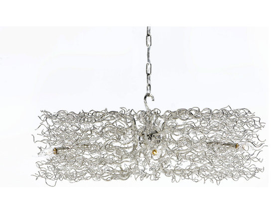 Hollywood Round Chandelier by Brand Van Egmond - Hollywood Round Chandelier features a diffuser of hand-sculpted metal. Graceful, wavy strands, interspersed with flame tip lamps, radiate out from a central sphere, creating an airy cloud of light. Finish available in nickel and white. Also available in an oval and square shape as well as a ceiling flush mount, suspension, table and floor lamp versions. Requires (6), (8), or (10) 25 watt, 120 volt, B10 candelabra base incandescent lamps not included (31 inch requires 6 bulbs). General light distribution. Made in the Netherlands. Height is adjustable 9.8-11.8 inches. Available in a small, medium, large size. Small: 47.2W x 11.8H x 23.6L. Medium: 55.1W x 11.8H x 27.6L. Large: 63W x 11.8H x 31.5L. Large version requires special junction box for fixtures weighing 50+ lbs.