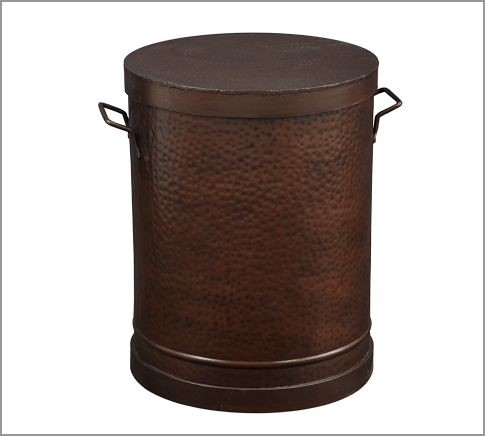 Rawson metal drum accent table contemporary side for Drum side table