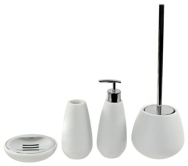4 piece white stone bathroom accessory set contemporary for White bath accessories