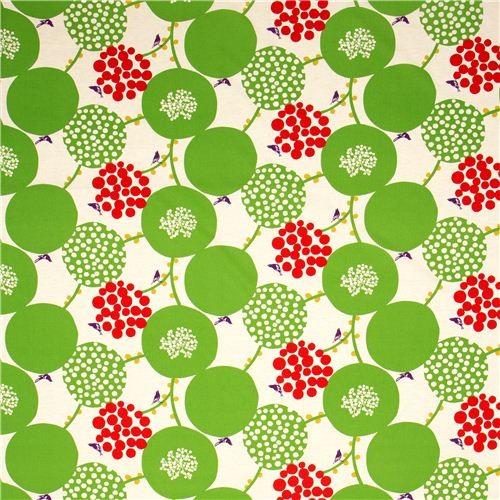echino canvas fabric green berries birds from Japan fabric