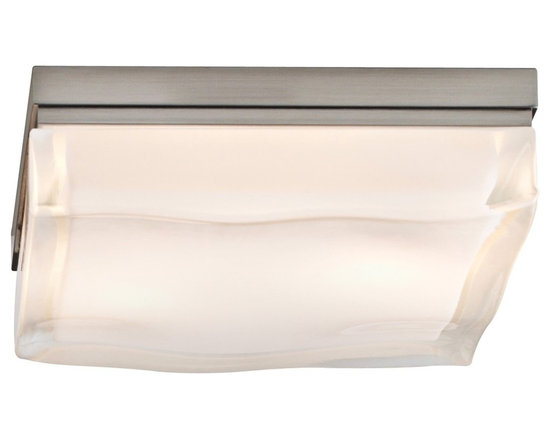 """Tech Lighting - Tech Lighting Fluid LED 9"""" Square Nickel Ceiling Light - This ceiling light - from the Fluid collection by Tech Lighting - features a distinctive flowing look to its glass. This effect is achieved by pouring molten glass into a mold and fire-finishing it. Creates great visual texture that plays with the light and changes from every viewing angle. A stylish satin nickel finish completes the design. LED lighting element offers high efficiency. Square ceiling light from the Fluid collection. Satin nickel finish. Fire-polished molten glass. May be mounted on ceiling or on wall. Suitable for wet locations. Includes two 10 watt LED modules. Color temperature 2700K. Light output 600 lumens. 9"""" wide. 2 1/2"""" high.  Square ceiling light from the Fluid collection.  Satin nickel finish.  Fire-polished contoured glass.  May be mounted on ceiling or on wall.  Suitable for wet locations.  Includes two 10 watt LED modules.  Light output 600 lumens.  Comparable to a 50 watt incandescent.  Color temperature 2700K.  9"""" wide.  2 1/2"""" high."""