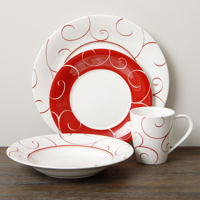 Red Vanilla 'Panache Rouge' 16-piece Dinner Set - Contemporary - Dinnerware Sets - by Overstock.com