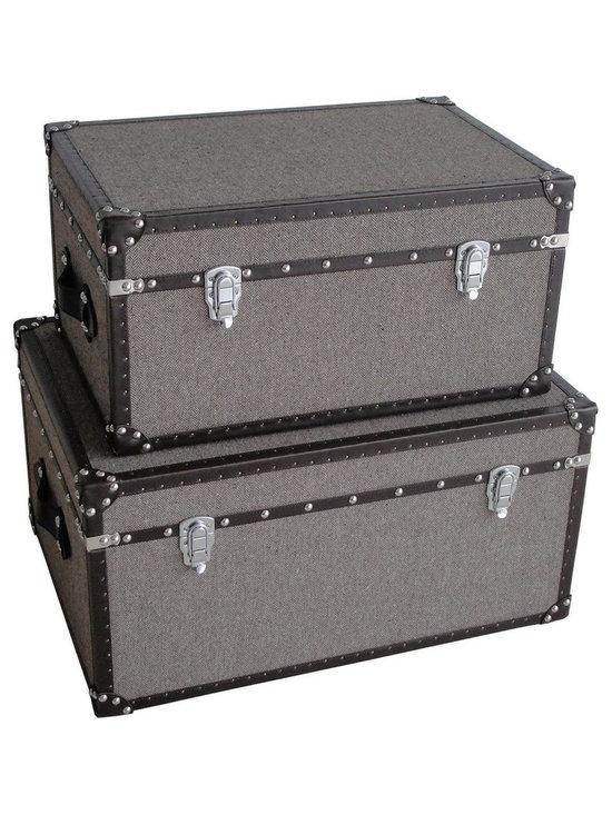 Screen Gems - MANDALAY RECTANGLE TWEED TRUNKS - Feel like a world traveler without ever leaving your home. These storage trunks speak of adventure on the high seas. With a beautiful tweed surface trimmed in faux leather, these trunks provide the perfect place to store your valuables and keep your living space looking chic.