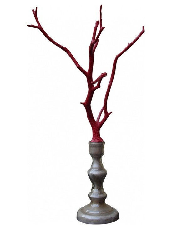 """Bois Rouge """"Coral"""" - Beautiful and graceful Manzanita wooden branch painted the color of red coral. This objet d'art is mounted on a sandy-colored mercury glass base -- presumable once used as a candlestick."""