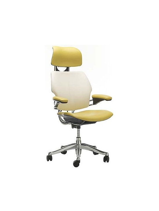 Freedom Task Chair With Headrest, Sabrina Leather, Bamboo - Who says all work chairs have to be black or brown? Bringing a cheerful ice cream color into the room where we spend so much of our time is a brilliant idea.
