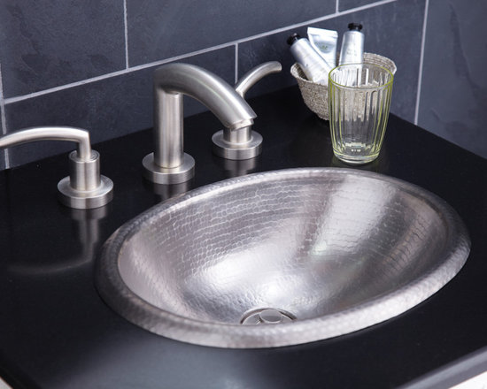 Rolled Baby Classic Brushed Nickel Copper Sink by Native Trails - A small wonder. Possessing in miniature all the features of Rolled Classic copper sink, Rolled Baby Classic is ideal for small baths and powder rooms. Oval and self-rimming, this compact marvel comes in Antique copper and hand-dipped Brushed Nickel finishes.