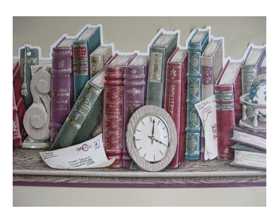 York Wallcoverings - Taupe Scalloped Books Wallpaper Border - Wallpaper borders bring color, character and detail to a room with exciting new look for your walls - easier and quicker then ever.