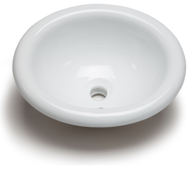 Medium Oval Bowl Bathroom Sink, White - Traditional - Bathroom Sinks ...