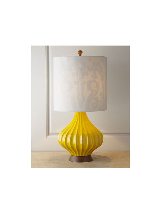 Couture - Couture Sunshine Fairfax Table Lamp - A mod-inspired lamp cast from an original 1960s lamp features a ribbed gourd body on a simple stained wood base for instant appeal. What makes it really interesting is the hardback shade with contrasting patterned shade lining that brings to mind mid-ce...