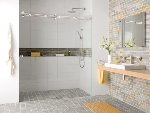 try a long horizontal niche running the full length of your shower wall or above your bath