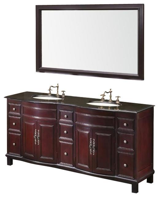 Fresca dellen antique double sink bathroom vanity w black for Decorplanet bathroom vanities