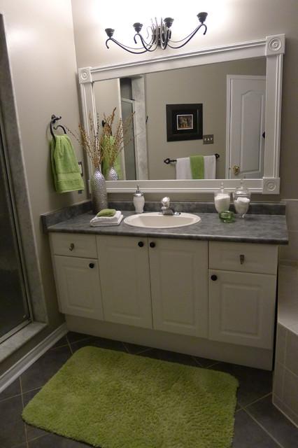 Bathroom Vanity With Custom Mirror Frame Contemporary