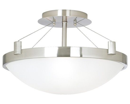 """George Kovacs - Contemporary Suspension 17 1/4"""" Wide Ceiling Light Fixture - This contemporary-style ceiling light fixture is from George Kovacs. Has wires that suspend a round light. Also has a brushed nickel finish with white frosted glass. Takes three 60 watt bulbs (not included). 17 1/4"""" wide. 9 1/2"""" high.  Brushed nickel finish.  Design by George Kovacs.  White frosted glass.  Takes three 60 watt bulbs (not included).   17 1/4"""" wide.   9 1/2"""" high."""