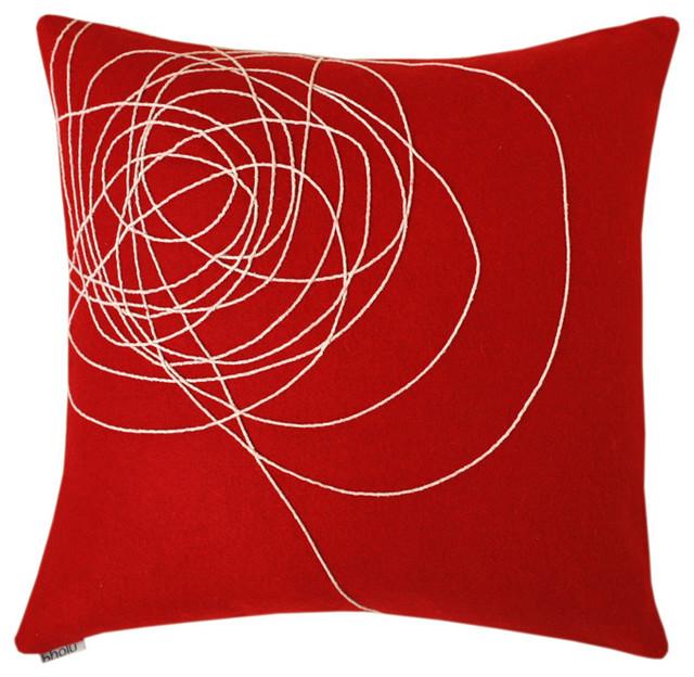 Modern Red Pillows : Bholu - Dharti Red/Cream Pillow - Modern - Decorative Pillows - by 2Modern