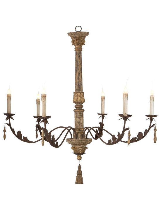 Aidan Gray Grand Ane Chandelier - This larger than life chandelier will set the tone for even the grandest of rooms. Delicate leaf carvings and iron arms add to the character of this unique piece.