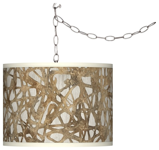 silver plug in swag pendant modern chandeliers by lamps plus. Black Bedroom Furniture Sets. Home Design Ideas