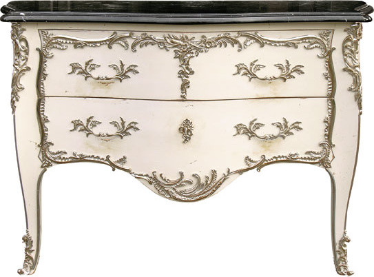 Louis XV Style Bombe Chest with Two Drawers with Antiqued White accent-chests-and-cabinets
