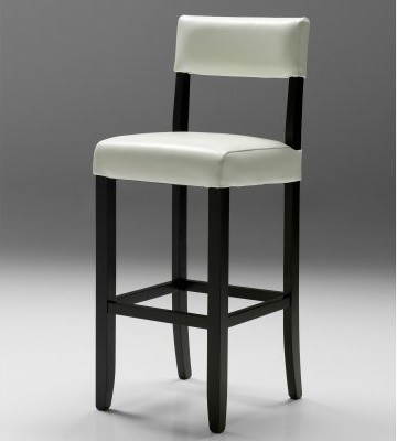 Pina Leather Bar Stool - White modern-footstools-and-ottomans