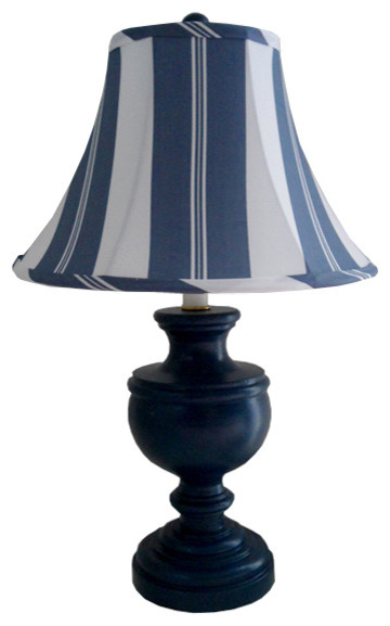 Grande Stripe Indigo Classic Urn Lamp by Charn & Company traditional children lighting