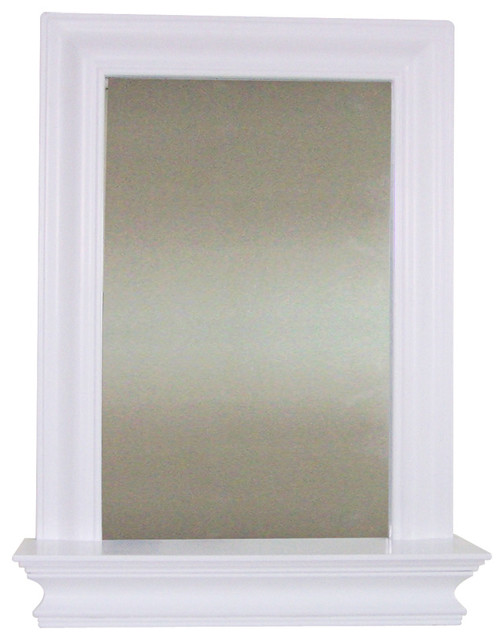 Stratford wall mirror with shelf traditional wall mirrors by elegant home fashions - Contemporary bathroom mirror with glass shelf ...