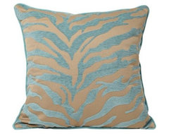 """Teal and Beige Tiger Pattern 18"""" Decorative Surya Pillow contemporary-pillows"""