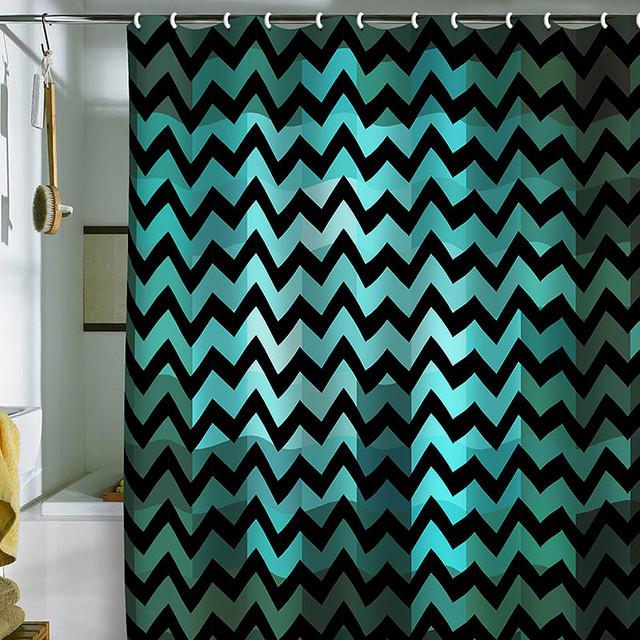 DENY Designs Madart Inc Black Chevron Romantic Evening Shower Curtain Conte