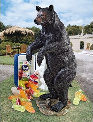 Design Toscano Fishing for Trouble Bear Statue modern-garden-sculptures