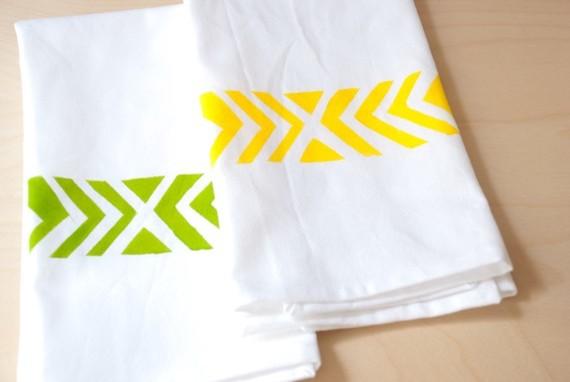 Organic Cotton Tea Towel, Chevron Print in Yellow by Katherine J. Lee modern-dish-towels