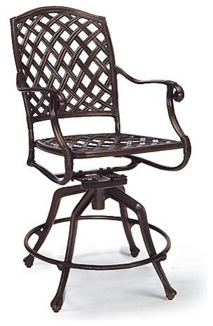 Venice Counter Stool with Cushion - Frontgate, Patio Furniture traditional-outdoor-benches