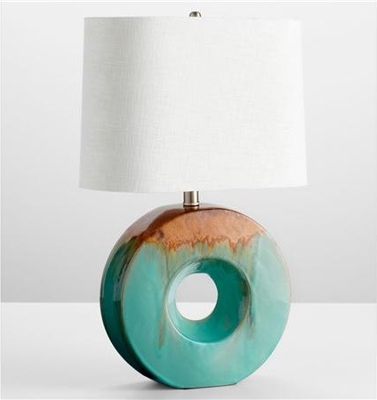 Glazed Ceramic Ring Table Lamp contemporary table lamps