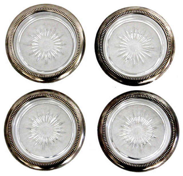 Silver Plated Glass Coasters modern-coasters