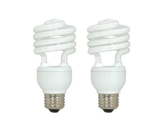 SATCO Lighting - 18W 120V T2 E26 Mini Spiral CFL Bulb (Pack of 2) by SATCO Lighting - This set of 2 energy-efficient fluorescent light bulbs from SATCO is designed for general purpose use in standard sockets. Satco, headquartered in Brentwood, NY, designs and manufactures a variety of high-quality lighting products for residential and commercial applications.