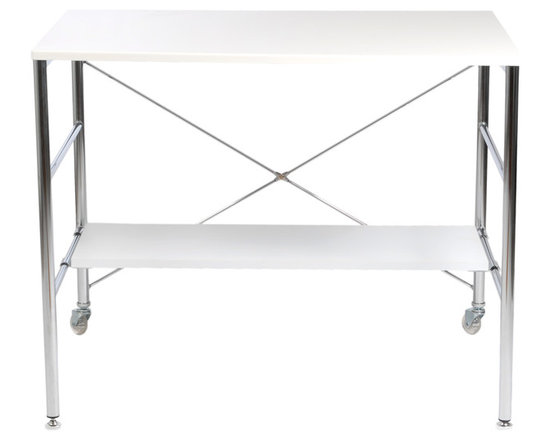 Eurostyle - Ida Desk-White - This imaginative desk reaches new heights in creativity. The rugged frame evokes a commercial scaffold. No climbing required, just set up your office supplies on the surface and shelf, and roll it to the desired spot.