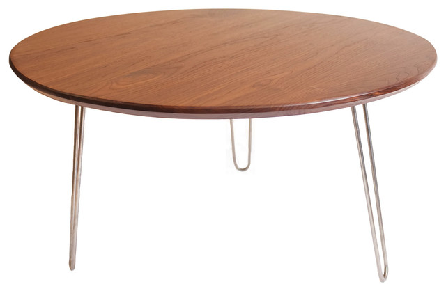 The Mila Solid Walnut 36 Round Coffee Table With Hairpin Legs Midcentury Coffee Tables By