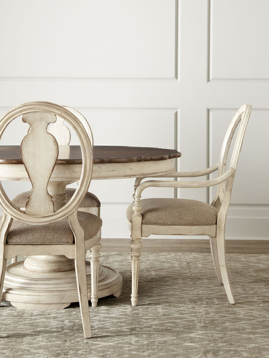 """""""Tabitha"""" Dining Table & Chairs - Dining furniture in a light, distressed finish features a contrasting tabletop framed by traditional curves. Save with discounted delivery and processing charges when you order a set."""