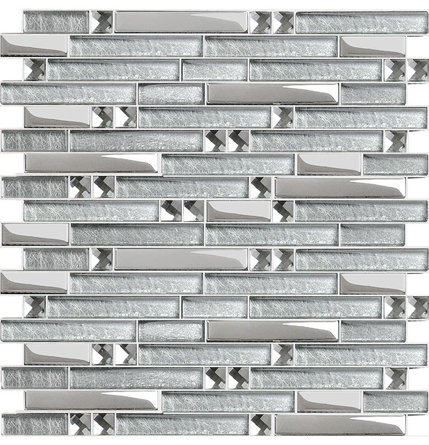 Interlocking Mosaic Tiles Crystal Glass Tile Diamond Tile Mirror Walls - Modern - Mosaic Tile ...