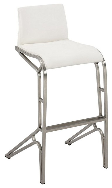 Chintaly Josie Modern Feet Bar Stools - White - Set of 2 - CTY1359 contemporary-bar-stools-and-counter-stools