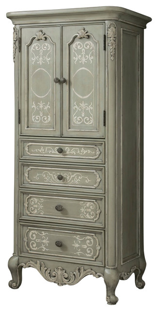 American Drew Jessica McClintock Boutique Jewelry Cabinet in Verdigris traditional-dressers-chests-and-bedroom-armoires