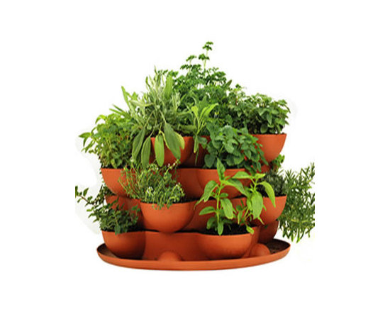 Terracotta Herb Garden Stackable Planter - Incredible indoor / outdoor stackable garden planter with a wheeled base. Just stack & grow. Grow herbs, flowers, house plants, cactus garden, more. Made in the USA. Durable, UV resistant material. 5 colors.