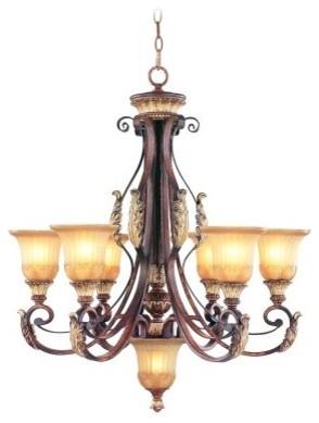 Livex Villa Verona 8576-63 Chandelier - Verona Bronze with Aged Gold Leaf Accent modern-chandeliers