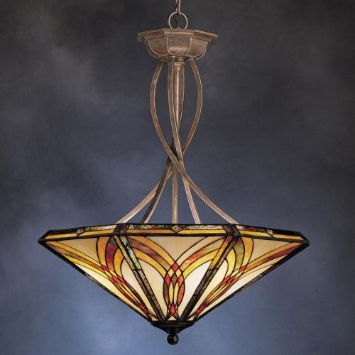 Kichler Art Glass Creations Inverted Pendant Light - 40L in. Bronze traditional-pendant-lighting
