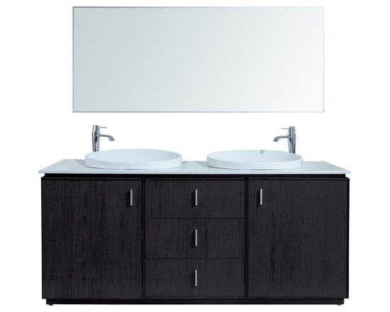 """72"""" Cheshire Double Sink Vanity With Faux Marble Top - http://www.furnishedup.com/"""